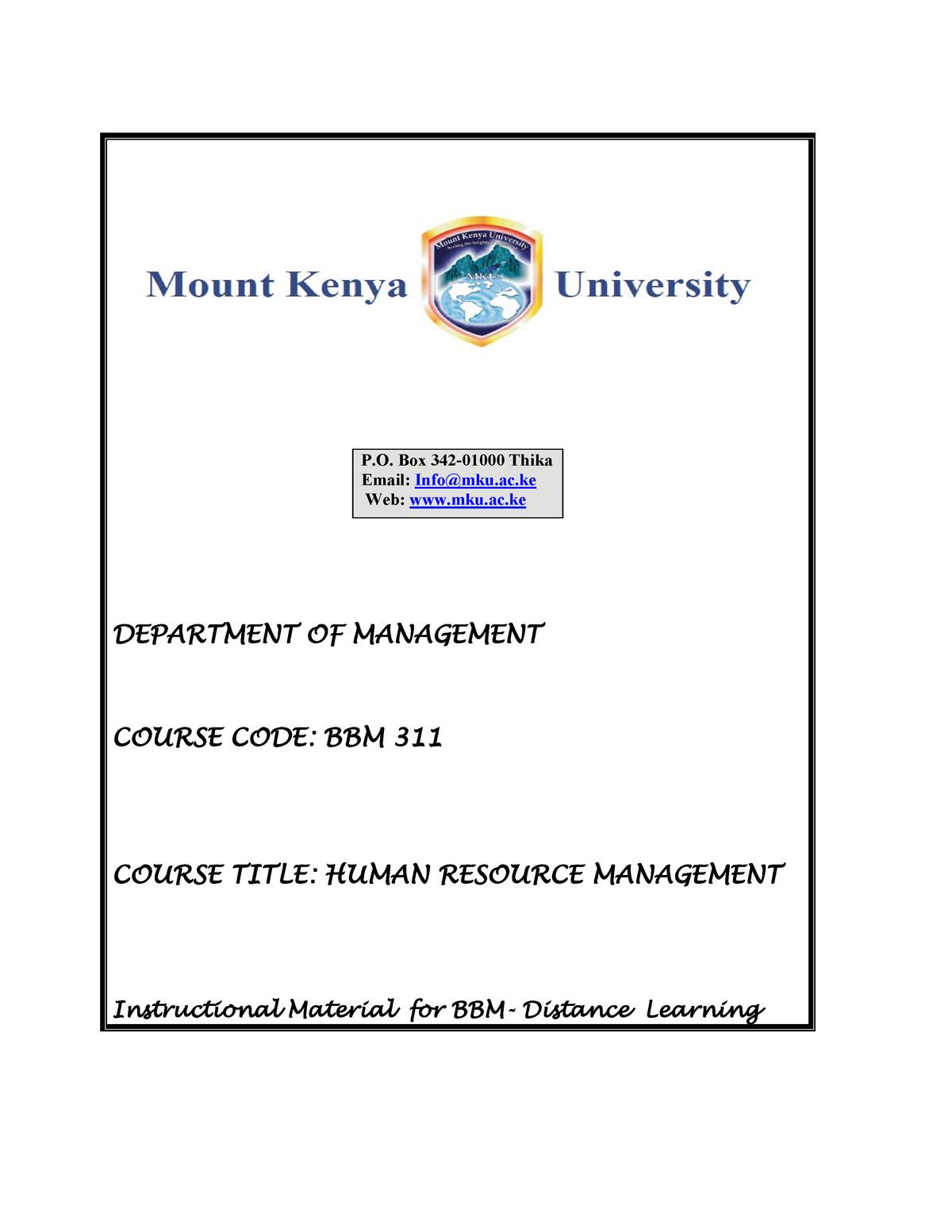 BBM 311 Human Resource Management Module - Human resource
