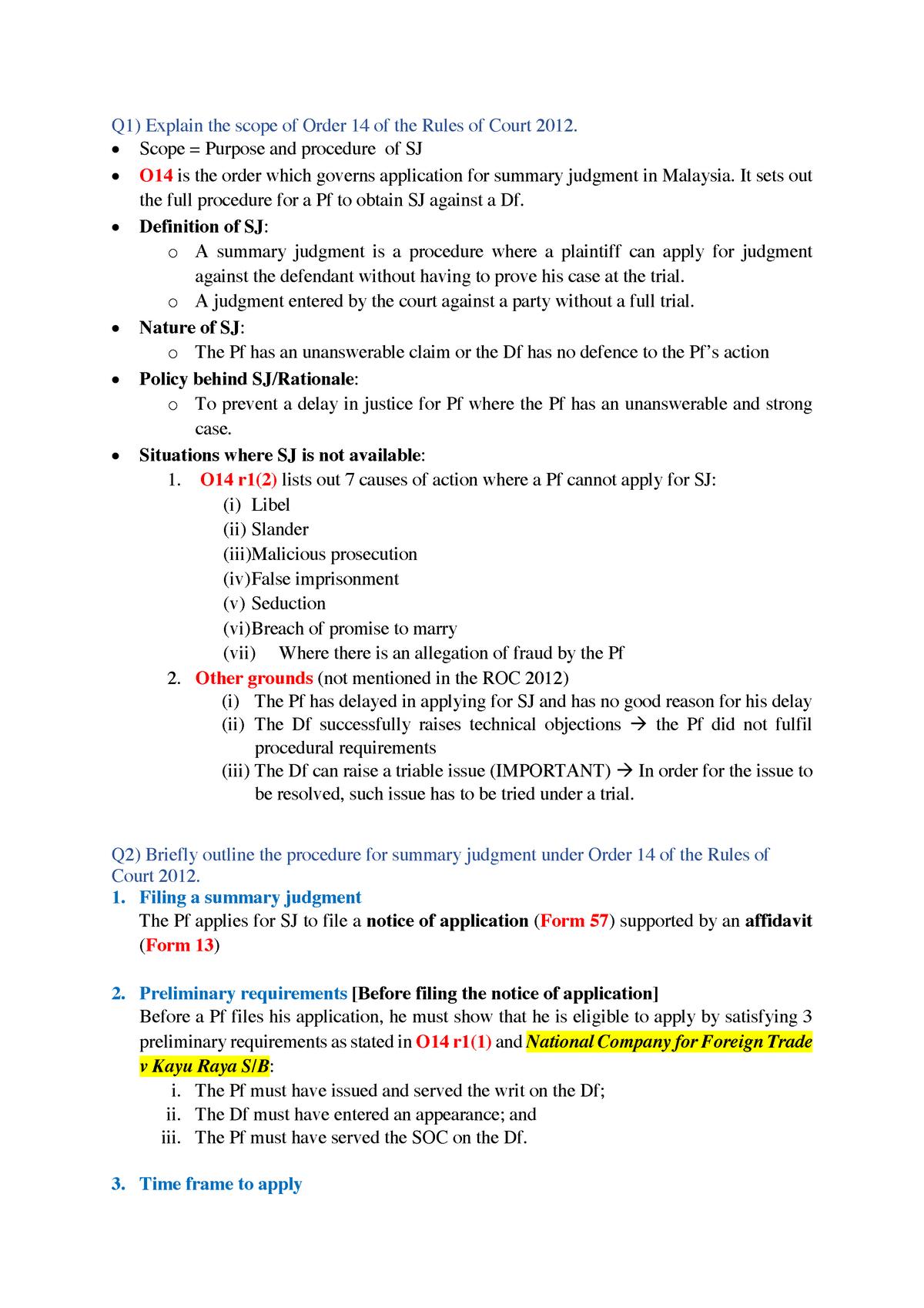 Exam Tutorial Q Sujata - LXEA4112: CIVIL PROCEDURE 2 - StuDocu