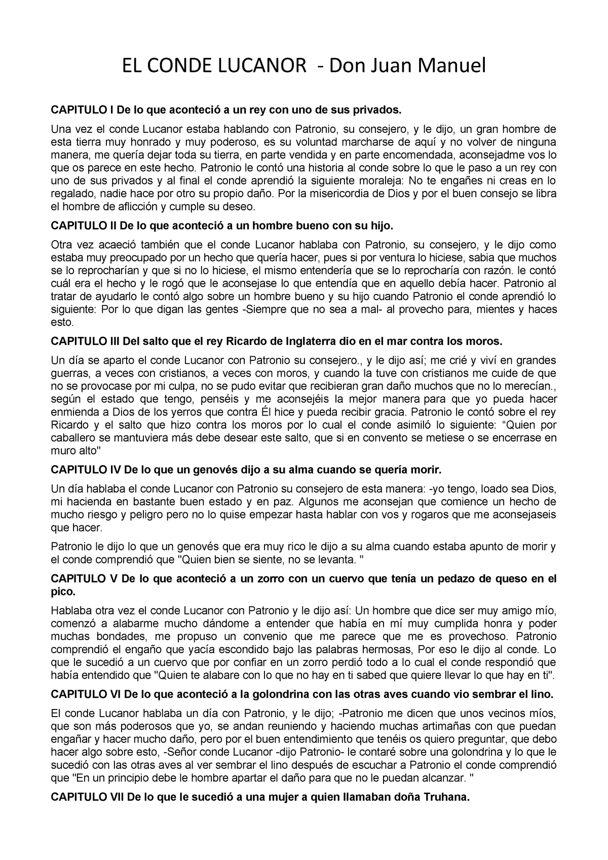 Resumen Conde Lucanor - GLEESL01-2-005 - StuDocu