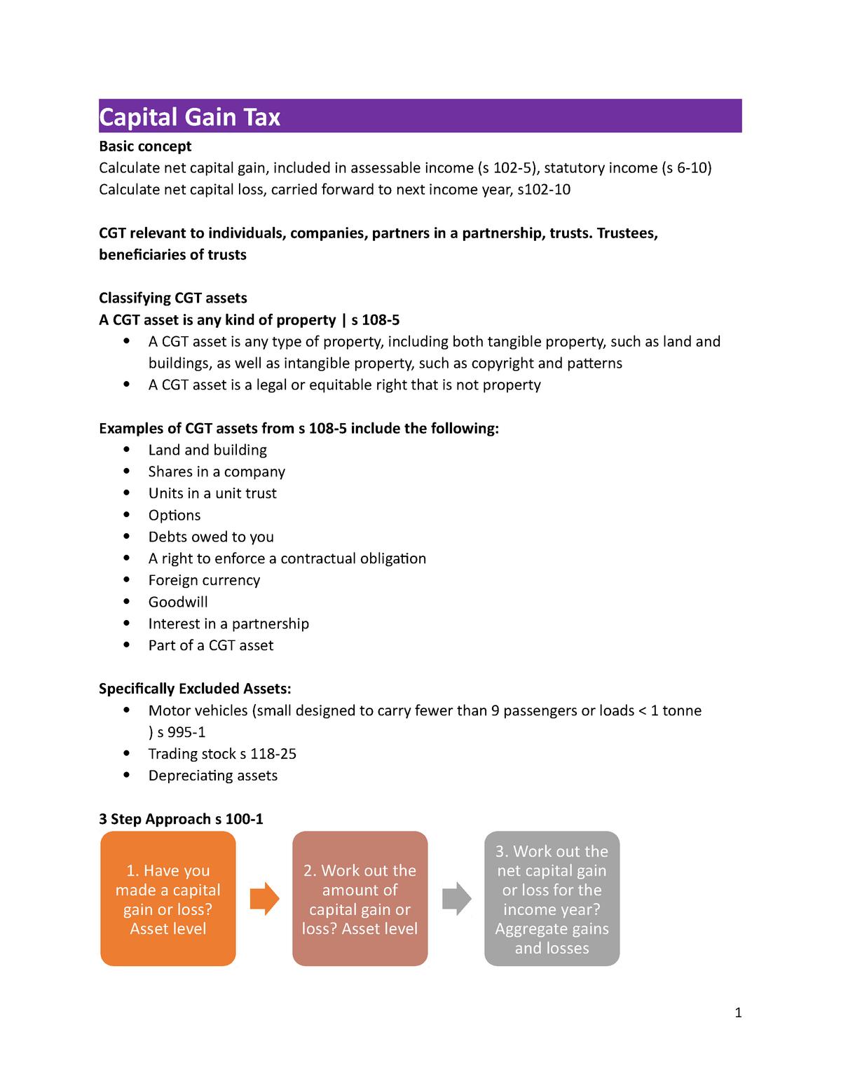 Capital Gain Tax - Summary Income Tax Law - LAWS3101 - StuDocu