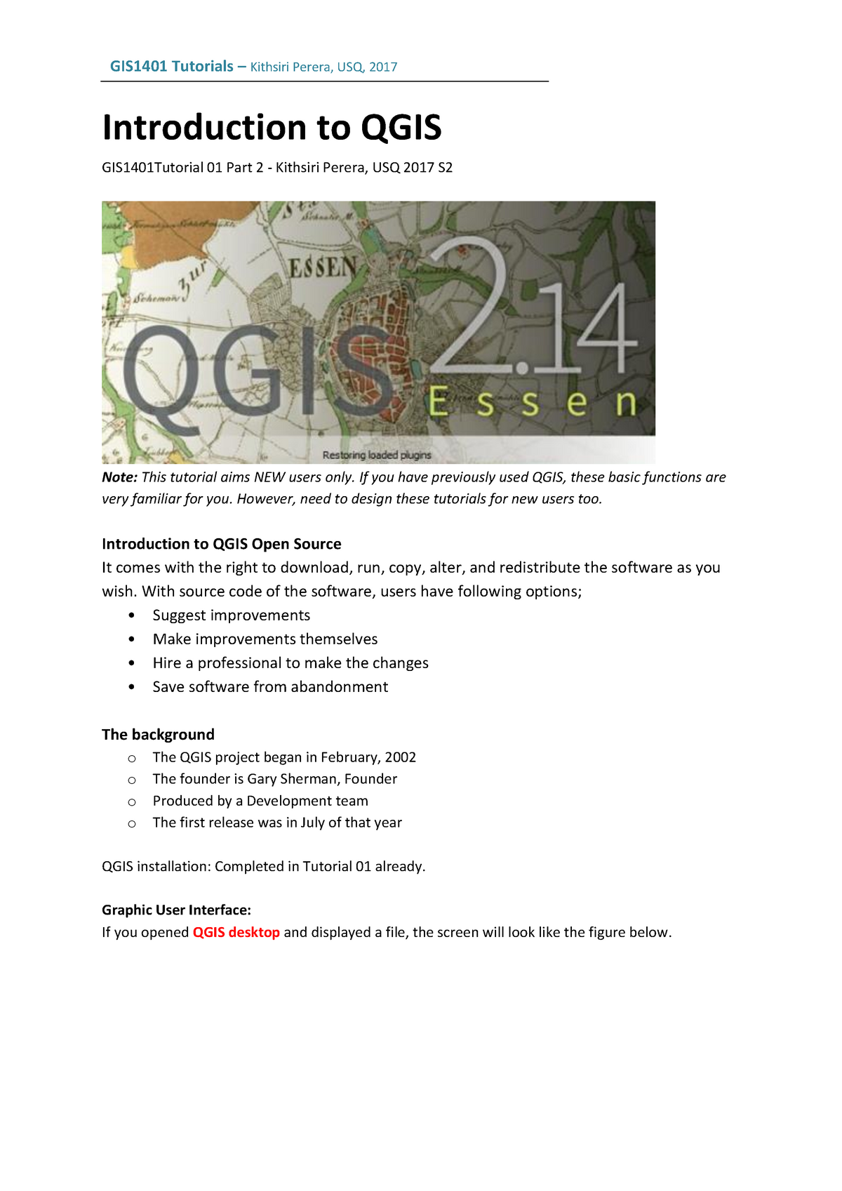 2017 QGIS TU01 QGIS part 02 - GIS1401 - USQ - StuDocu