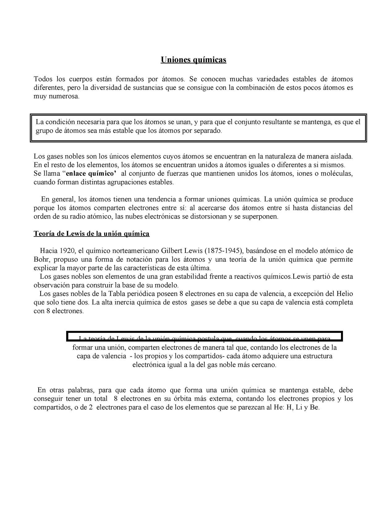 Uniones Quc3admicas Teoria Quimica General Unc Studocu