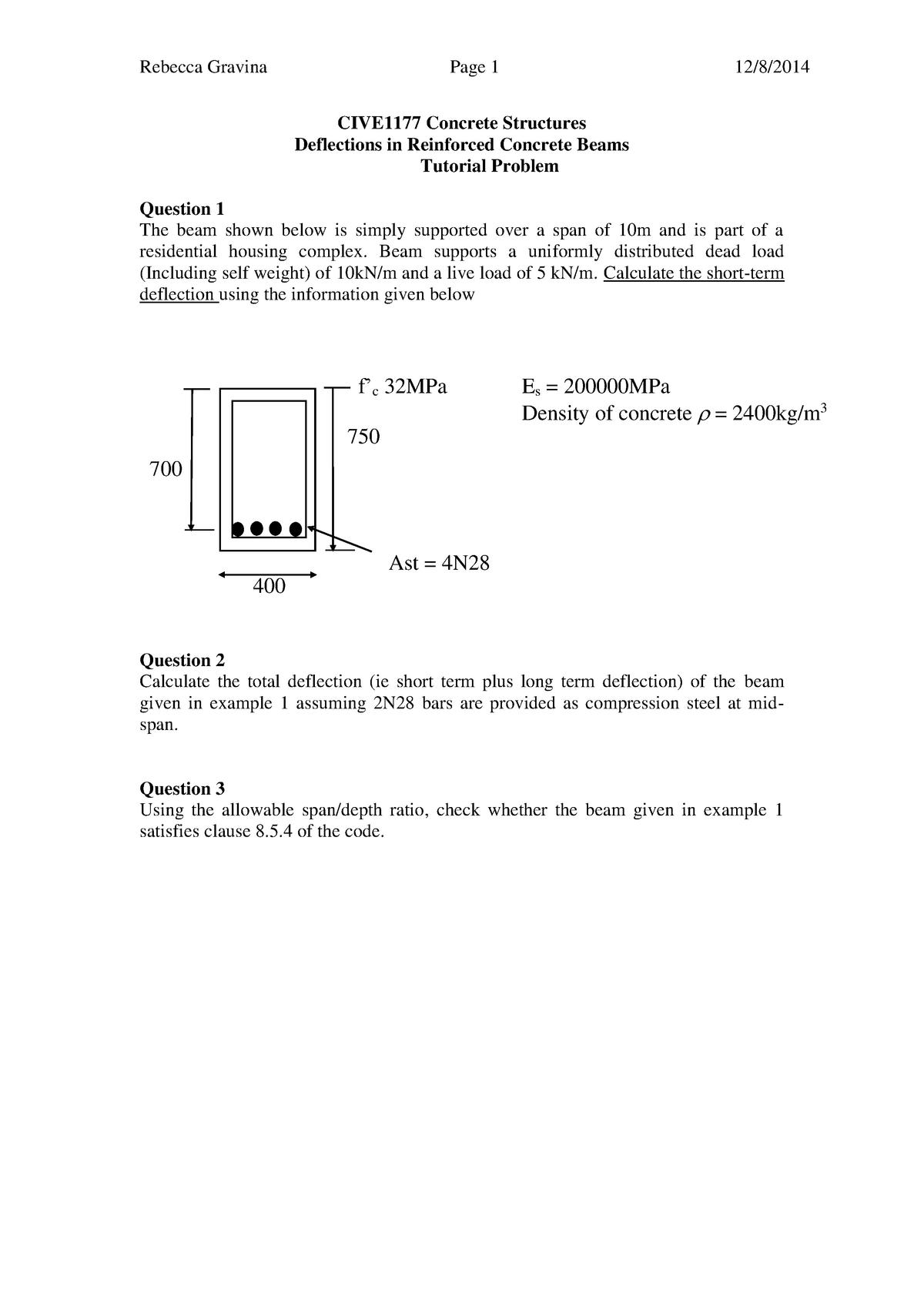 Tutorial work, questions - CIV2226 - Monash - StuDocu