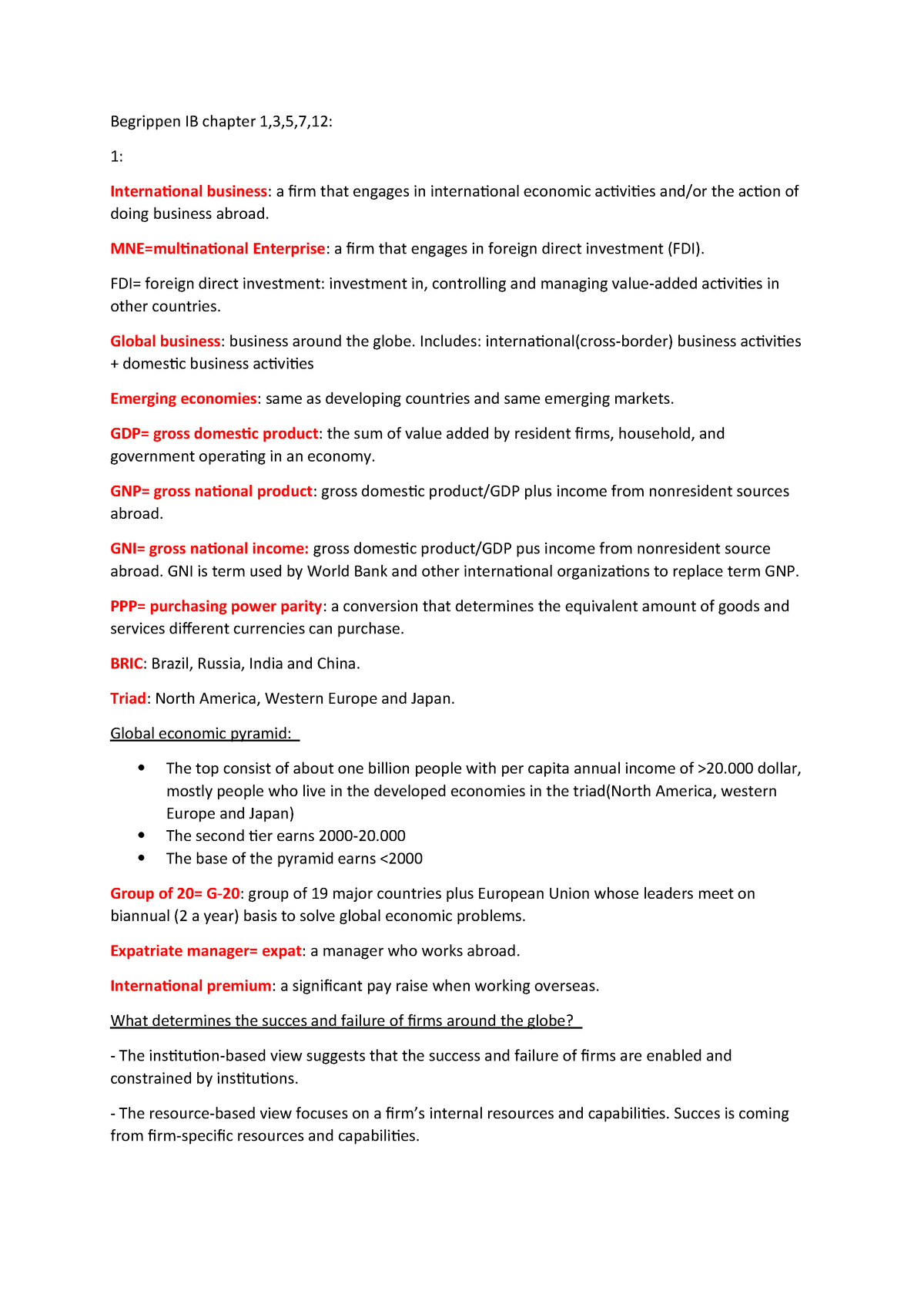 IB chater 1,3,5,7,12 - Summary Introduction to International