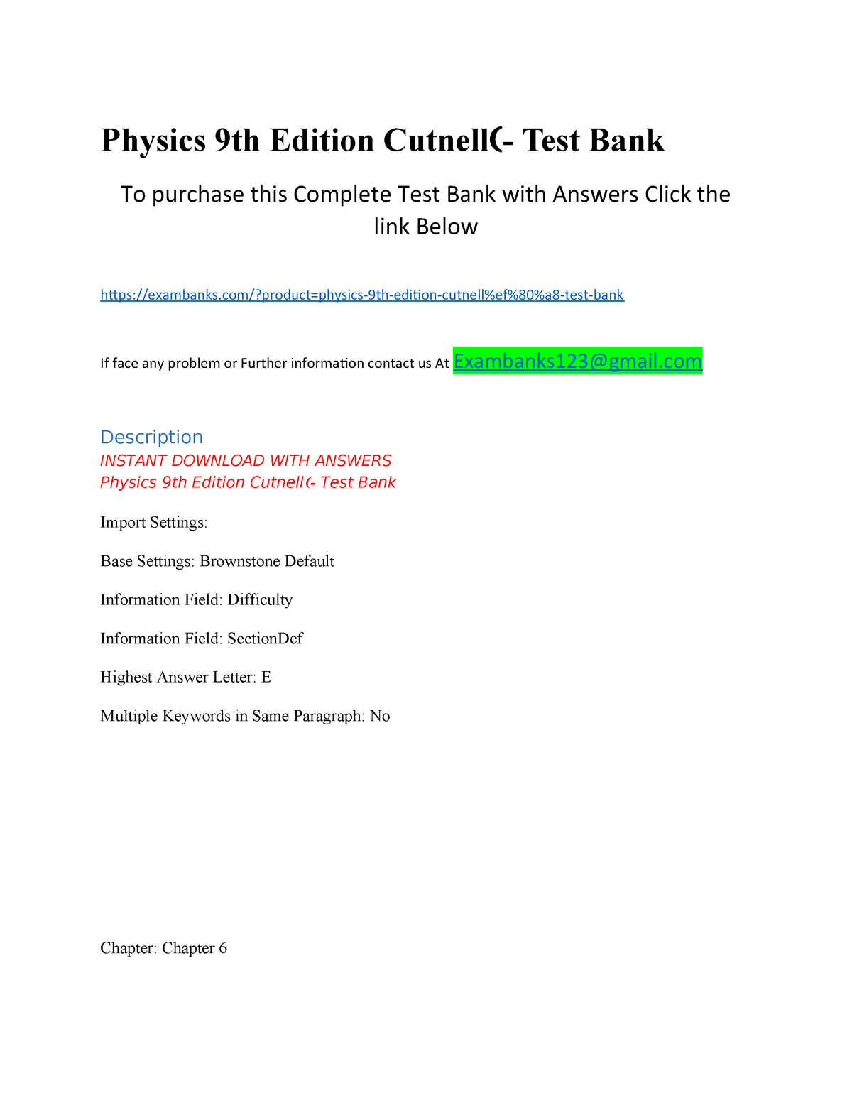 Physics 9th Edition Cutnell- Test Bank - ACC556: Financial