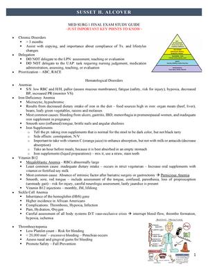 MED SURG 1 Final EXAM Study Guide - NUR 3180 - NSU - StuDocu