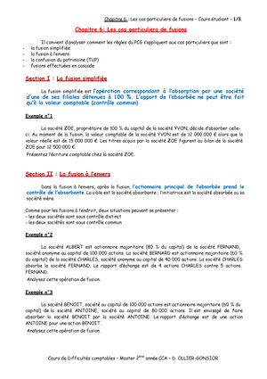 Chapitre 10 - Les cas particuliers de fusions - Cours
