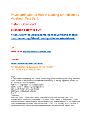 Psychiatric Mental Health Nursing 6th Edition By Videbeck Test Bank