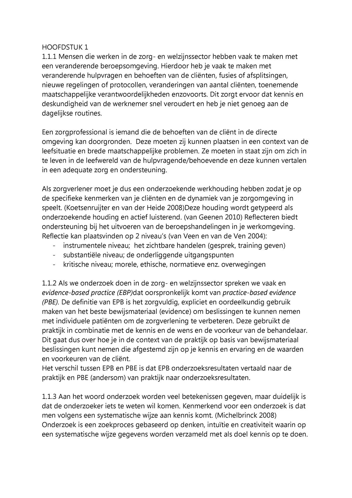 Wonderlijk Samenvatting Praktijkonderzoek in zorg en welzijn. - StudeerSnel.nl BV-23