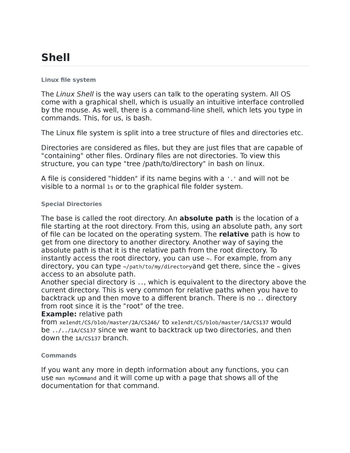 CS246 - Shell Overview - Cs 246: Object-Oriented Software Devel