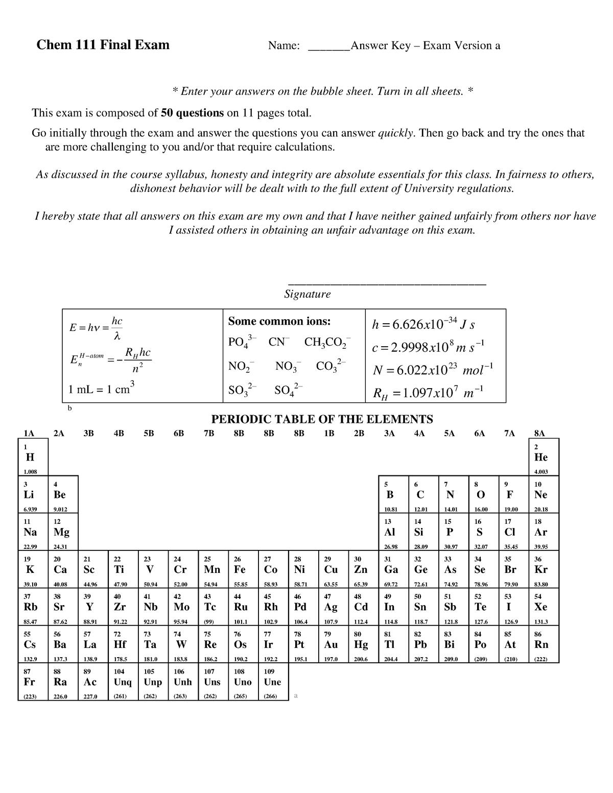 Exam 2017 - CHEM 101: General Chemistry I - StuDocu