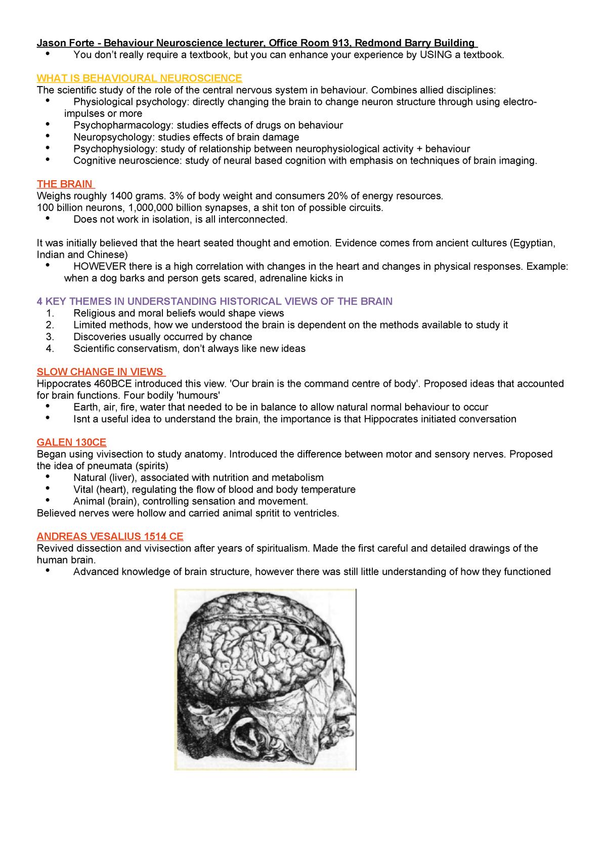 Biological nueroscience notes - PSYC10003 - Unimelb - StuDocu