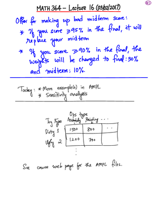 Lecture notes 16 due Mar 2 2017 - MATH 364: Principles Of