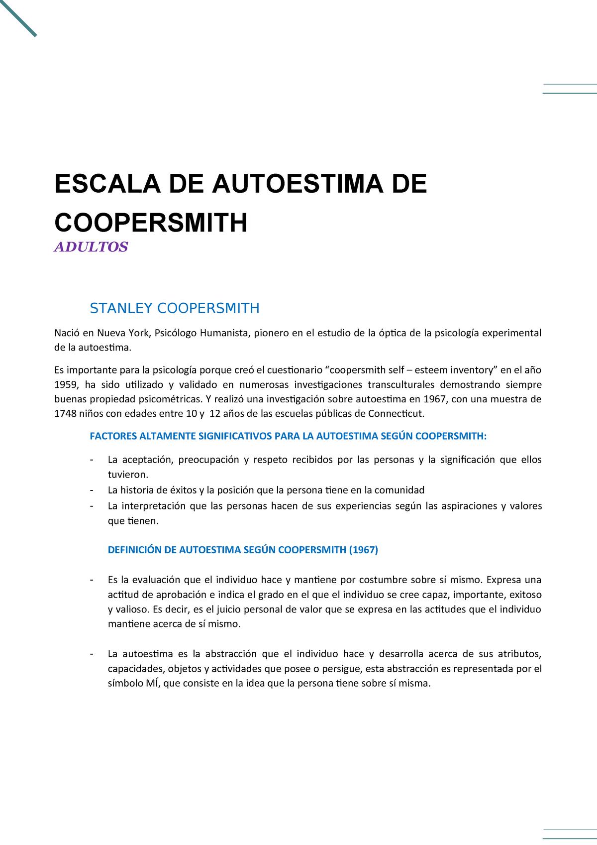 Autoestima Coopersmith Asy Upsjb Studocu