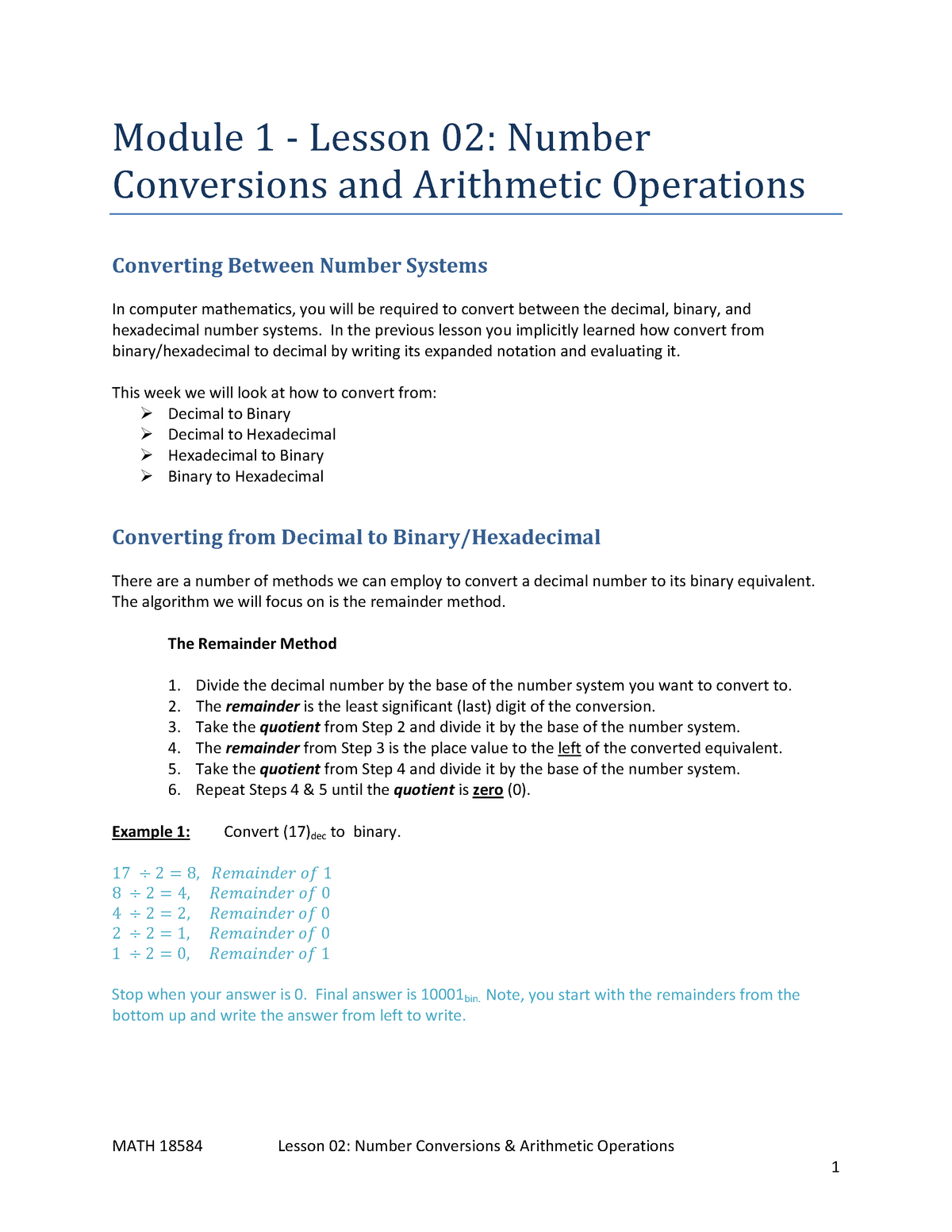 Lesson 1-02 - Number Conversions and Arithmetic Operations