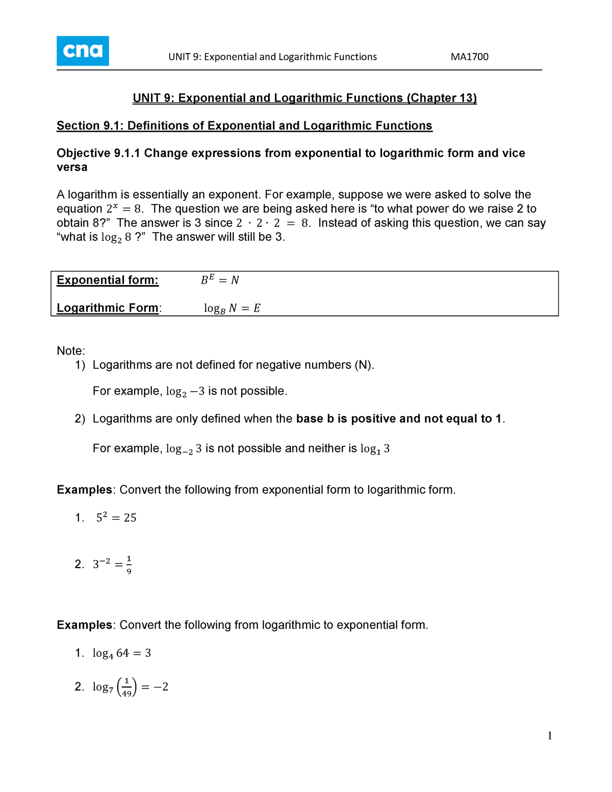 MA1700 Notes Unit 9 Exponentials and Logarithms - MA1700