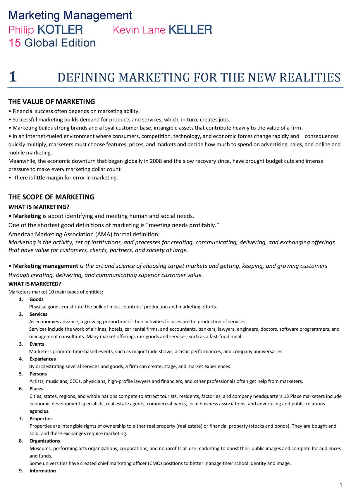 Marketing Management - 8037346 - UniRoma2 - StuDocu