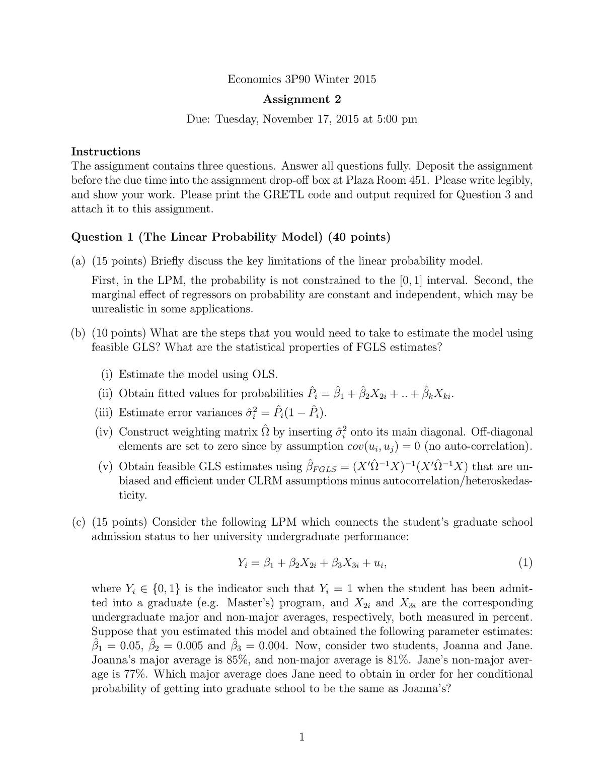 Assignment 2-Answers - ECON 3P90: Econometrics - StuDocu