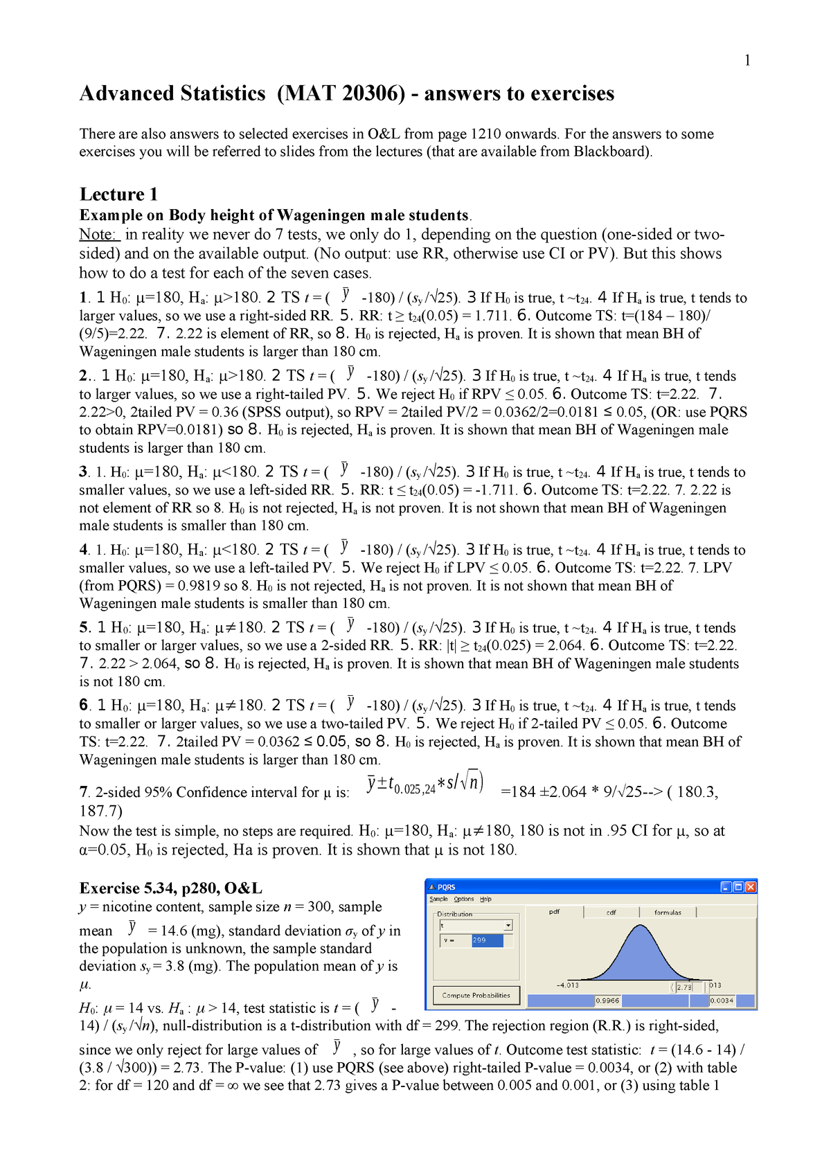 Answers study guide Werkgroep uitwerkingen - MAT-20306