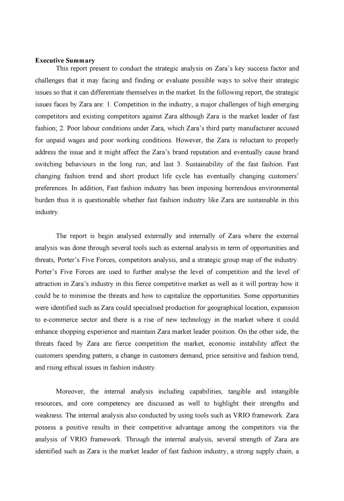 Zara- Executives Summary, porter, swot and tows - 10848