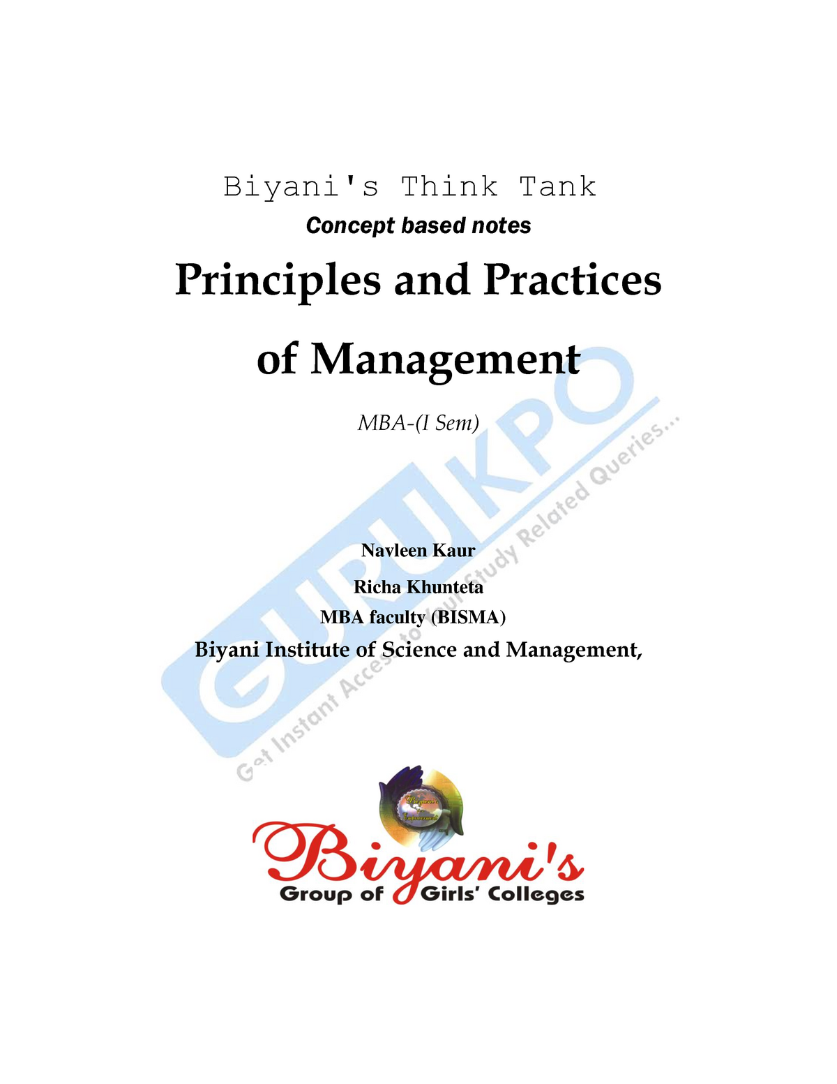 Principles and Practices of Management - 16MBA: Business