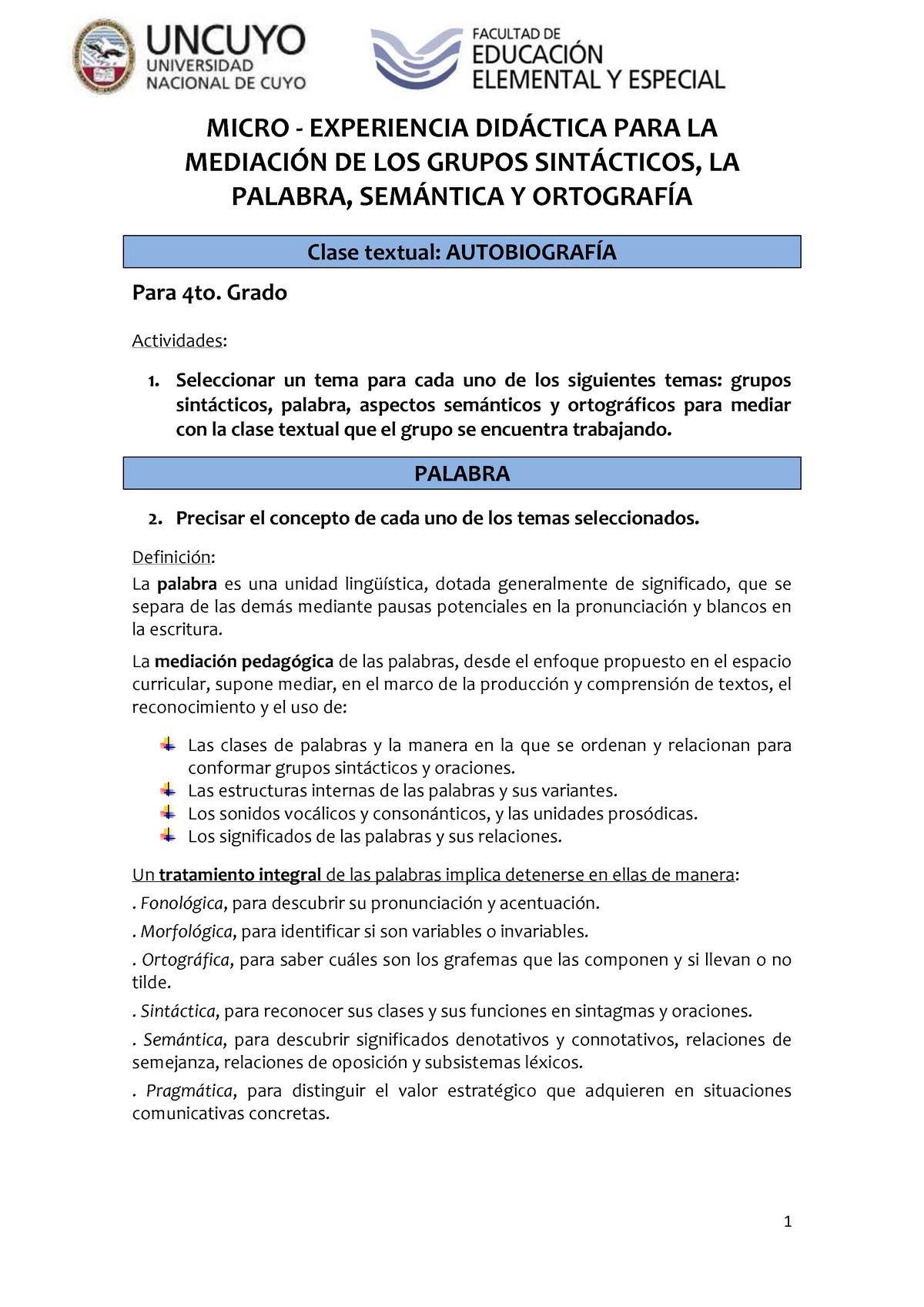 Trabajo 4 Y 5 Lengua Y Literatura Uncuyo Studocu