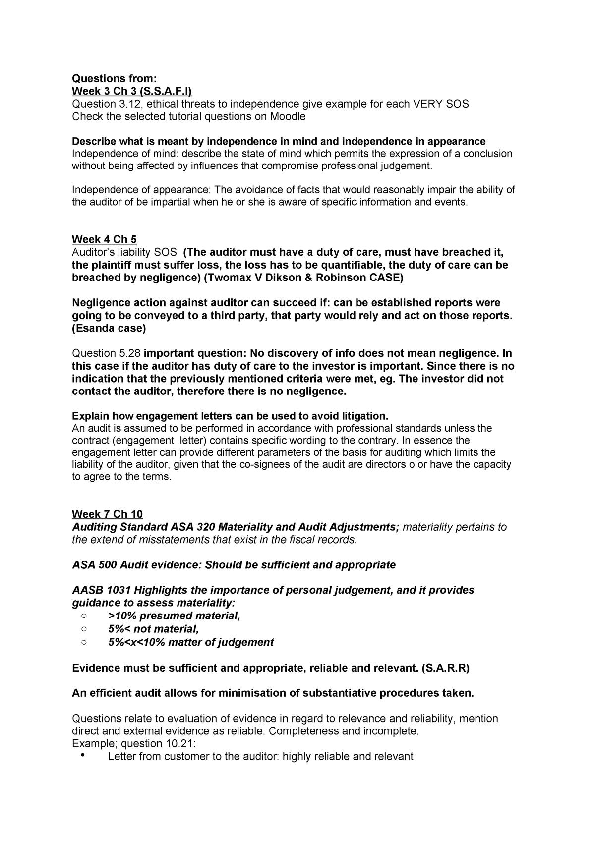 Summary - Auditing and assurance - - StuDocu