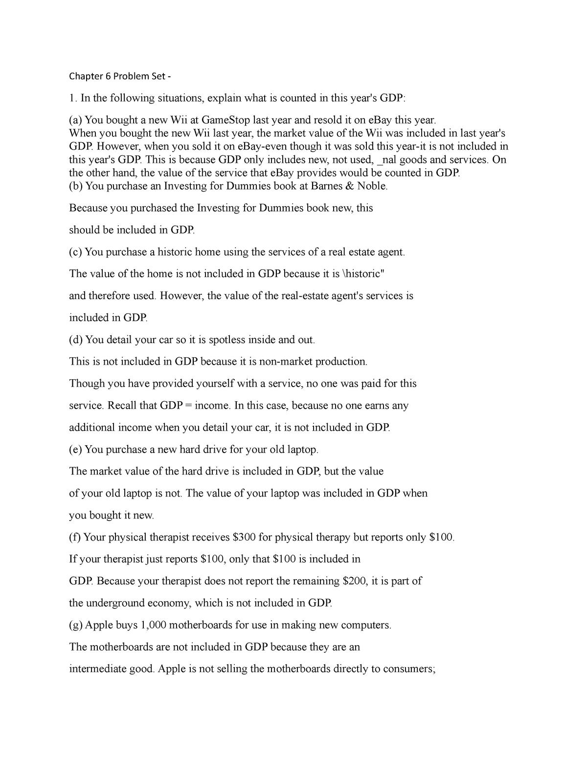 Chapter 6 Problem Set Econ 201 Emu Studocu