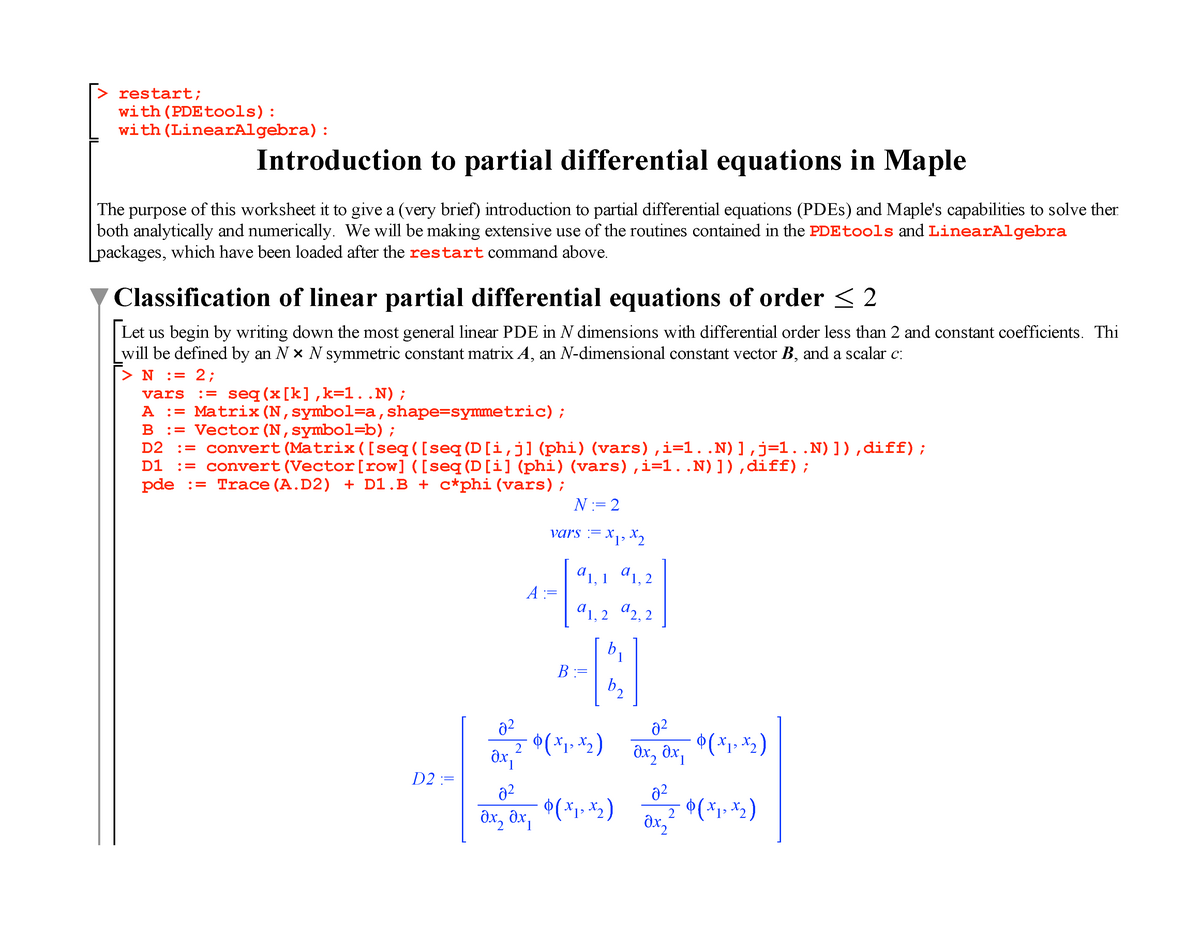 Tutorial work - introduction to partial differential equations in