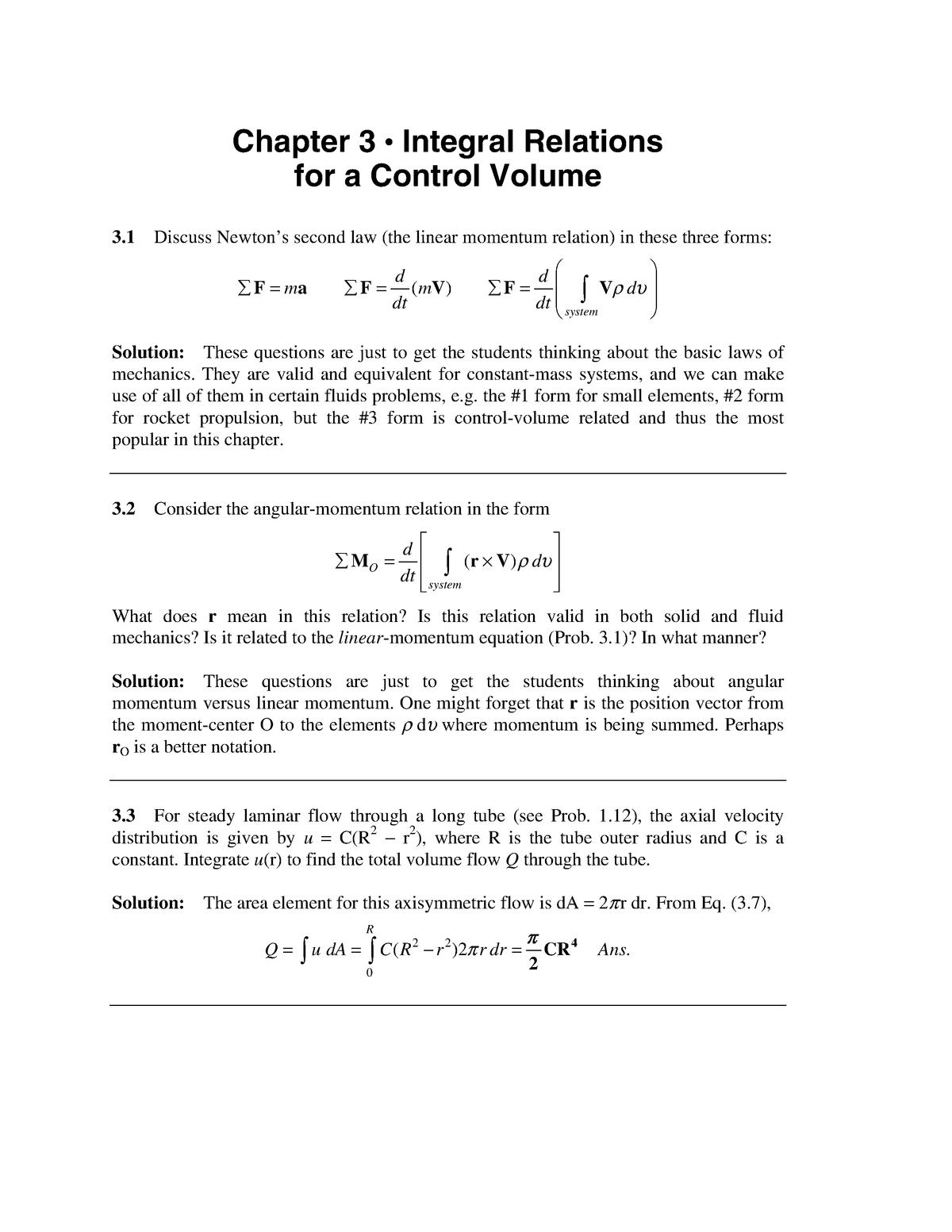 Solution Manual Fluid Mechanics White 5th CH 3 Part A - StuDocu