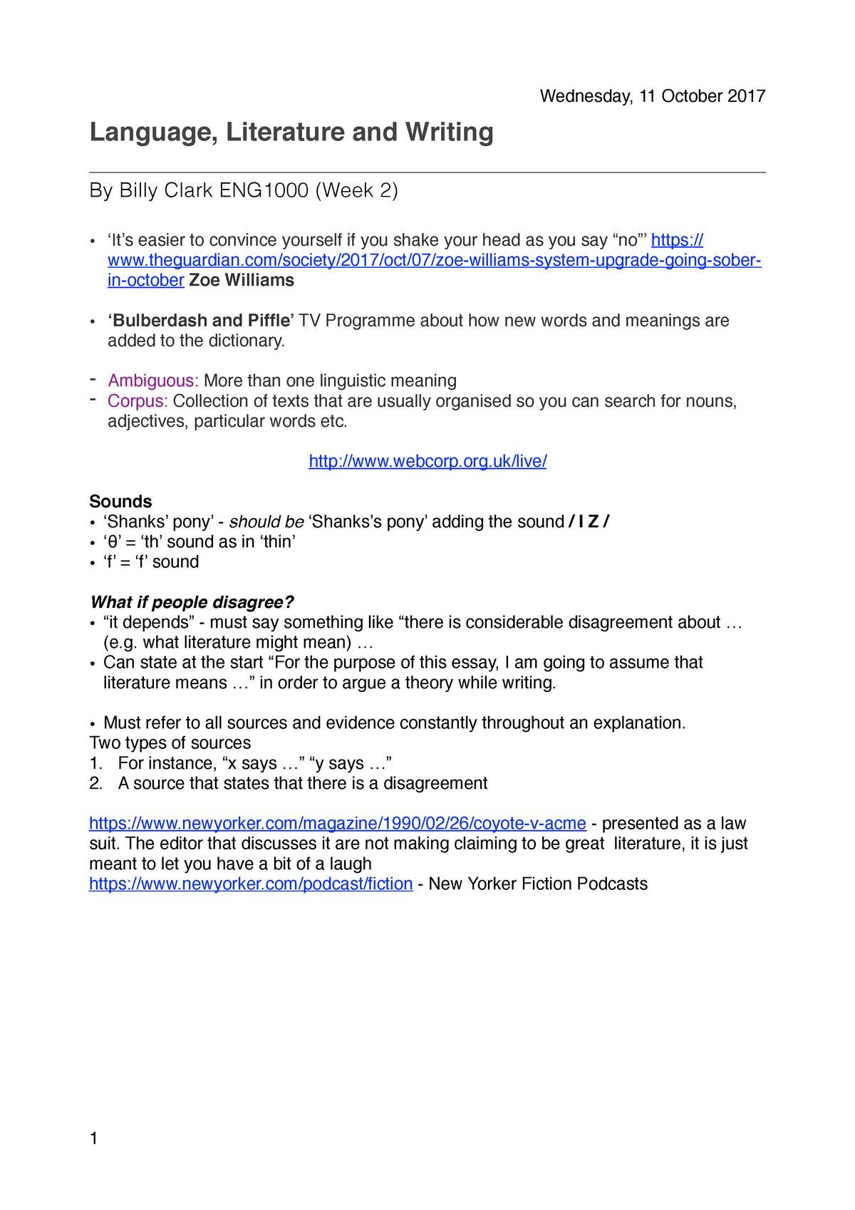Week 2 Notes - language literature and writing - ENG1000