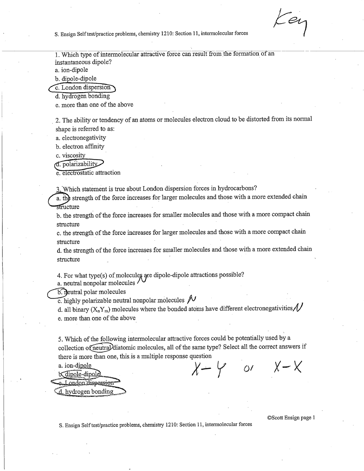 Intermolecular Forces Worksheet Answers - Answers / What