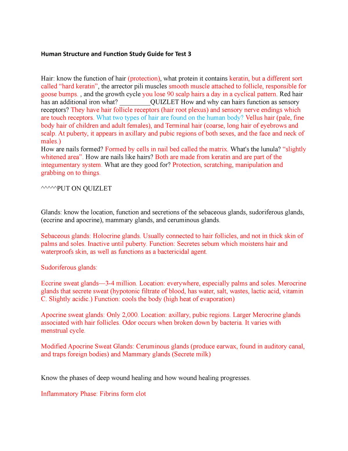 HSF 1 Study Guide Test 3 (Autosaved) - BIO 3223: Human