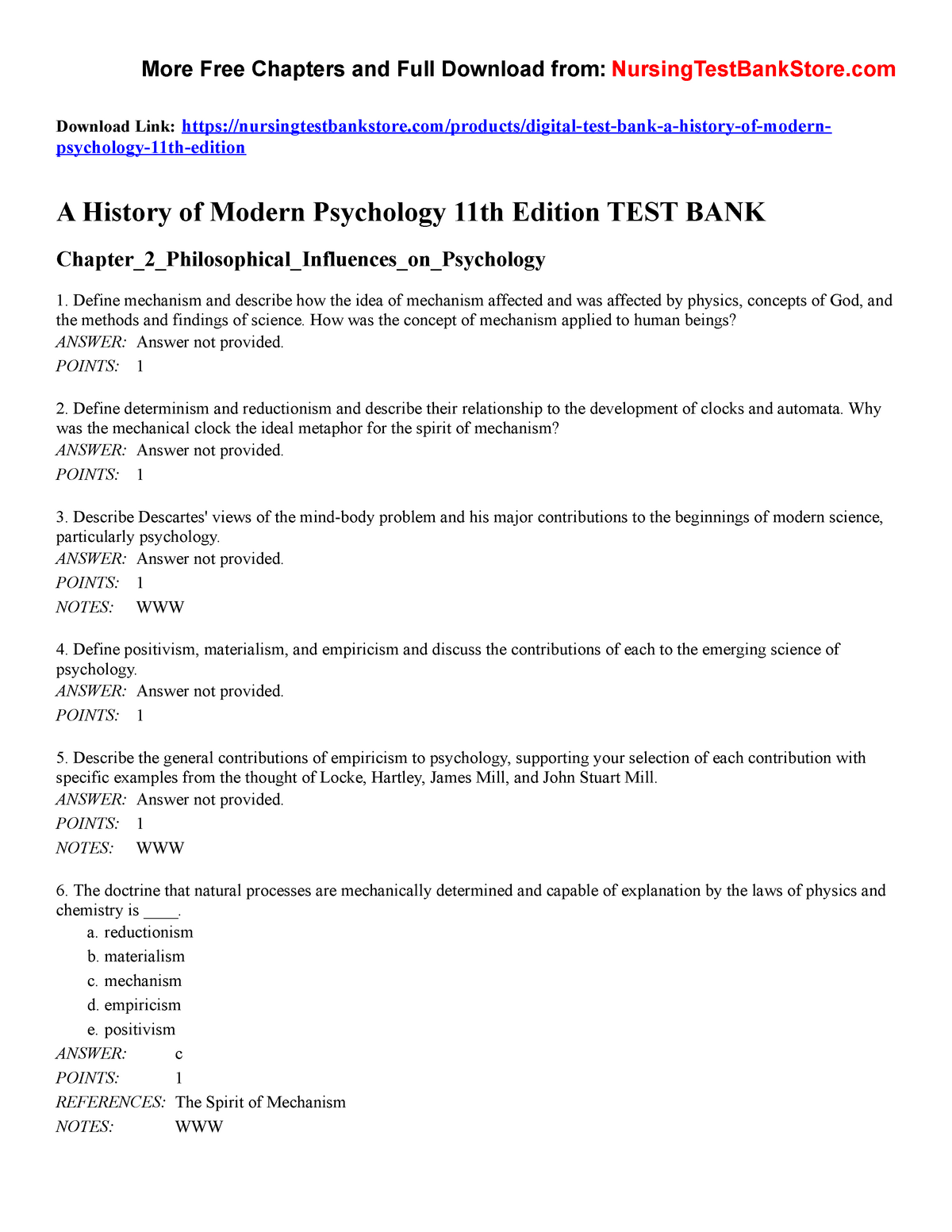 A History of Modern Psychology 11th Edition Test Bank - PSYC 5400