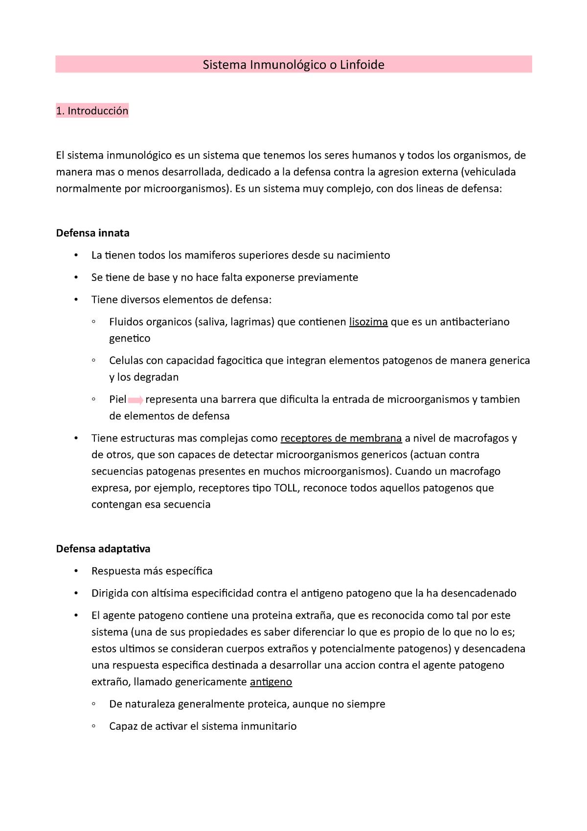 Sistema Inmunitario Anatomía Microscópica Udl Studocu