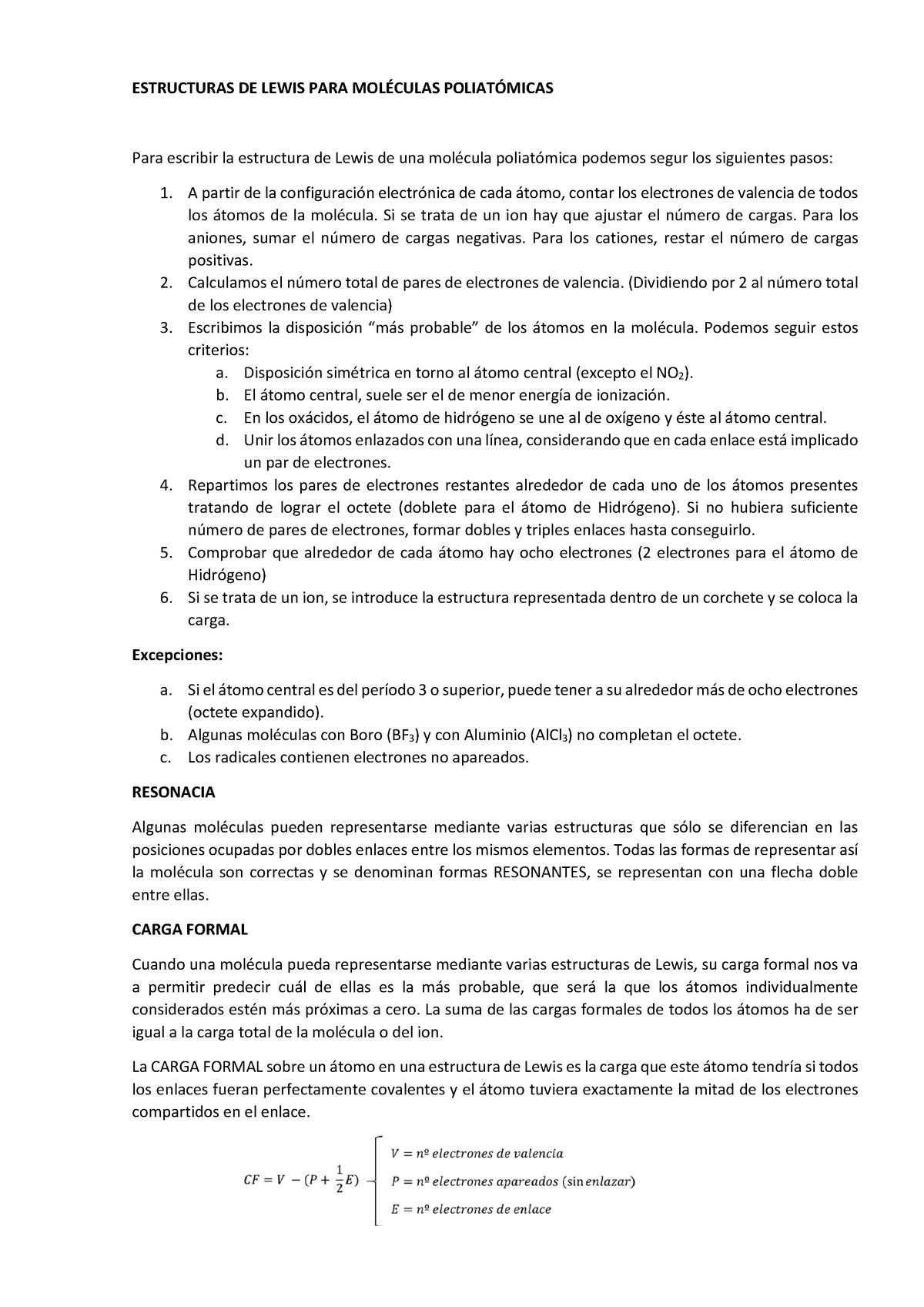 Estructuras De Lewis Química 0914204 Unileon Studocu