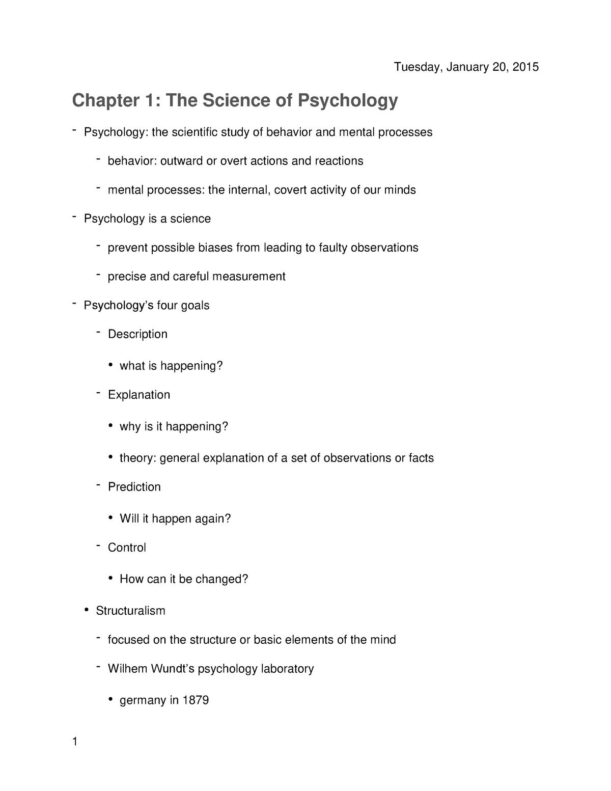 Summary - chapters 1-3, 5, 8, 9, 11, 12 - PSY 1300 - TTU