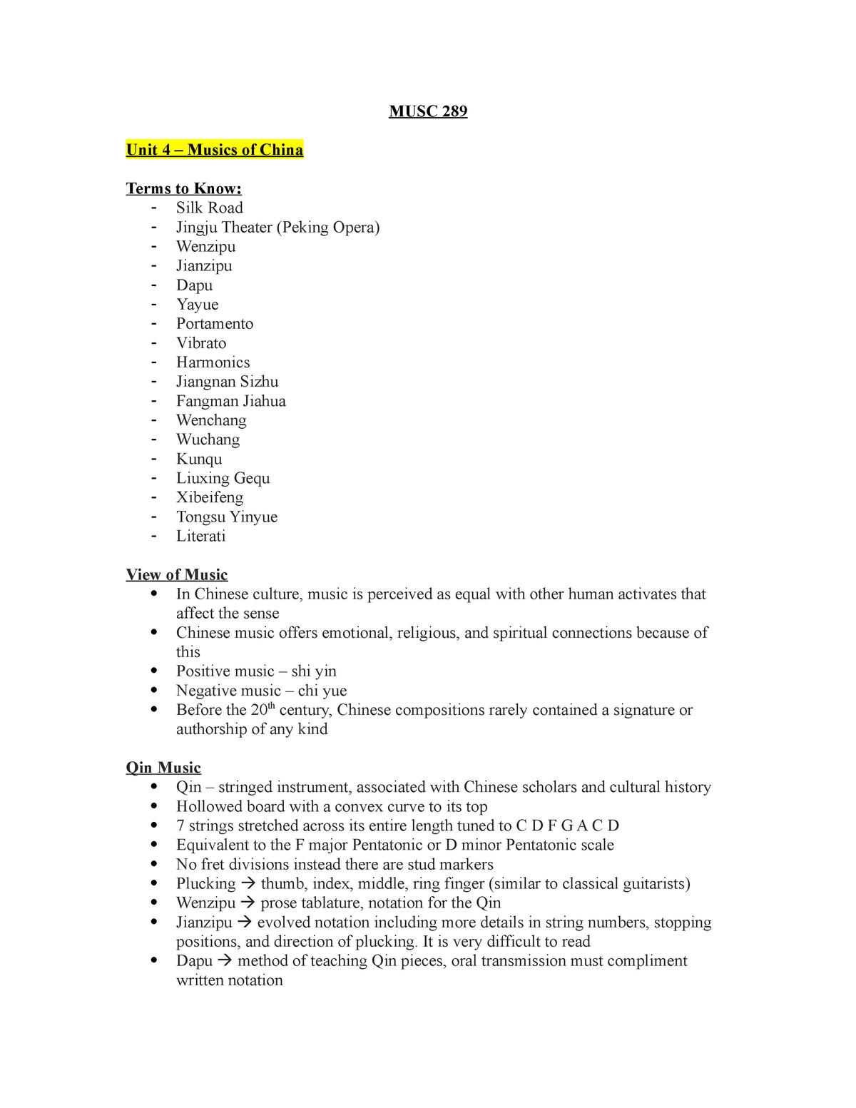 World Musics - Summary - MUSC 289 - Musc 289 - StuDocu