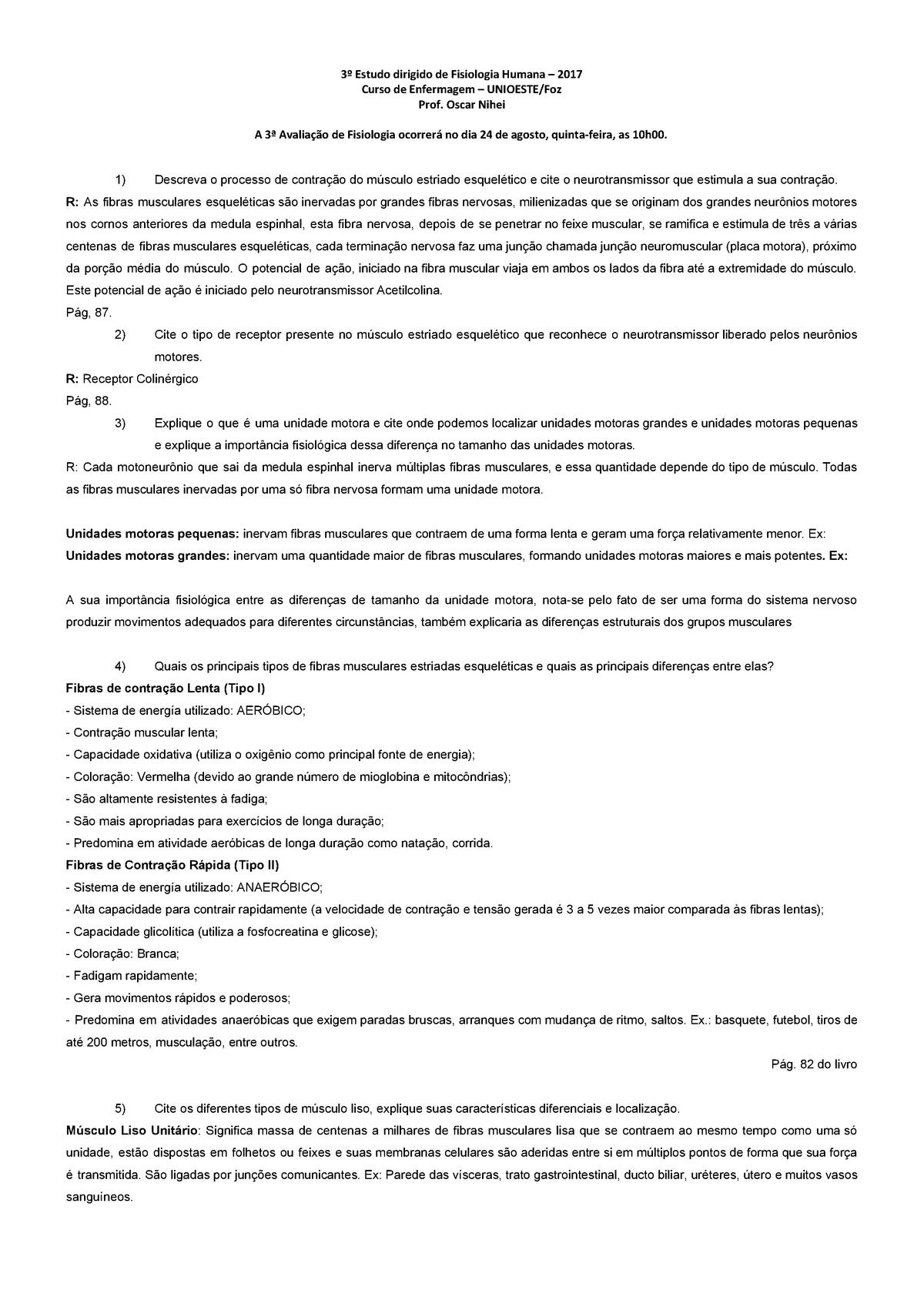 3o Estudo Dirigido De Fisiologia Humana Unioeste Studocu