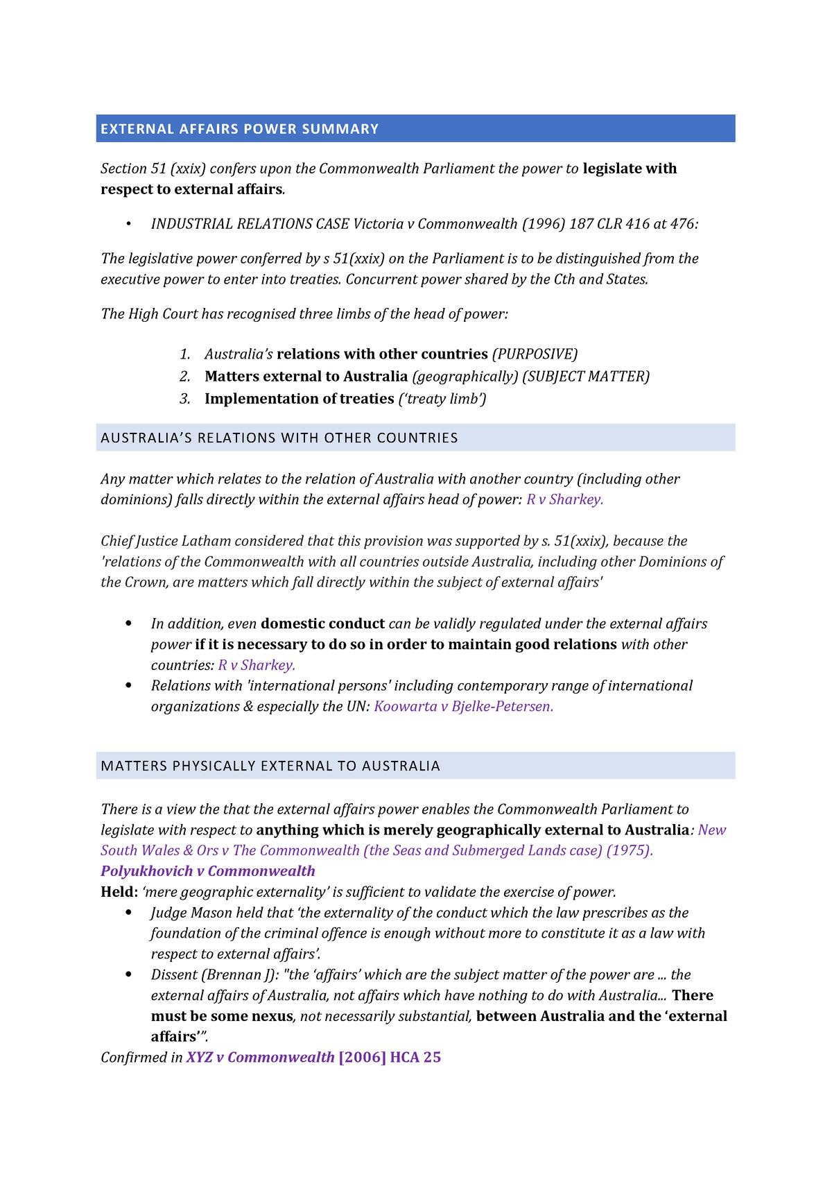 External affairs power summary - 070616 - StuDocu