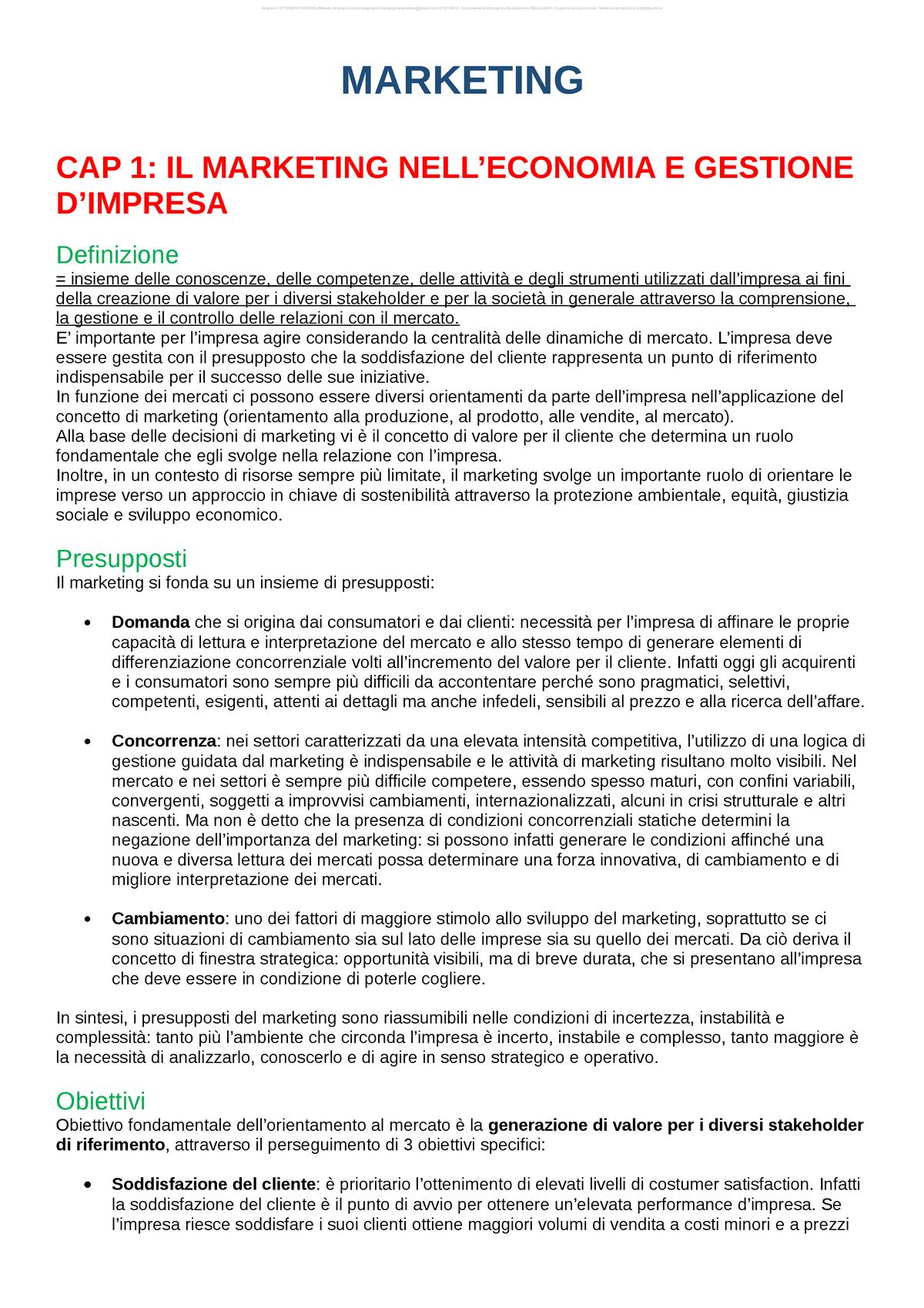 Dispensa marketing Marketing UniCatt StuDocu