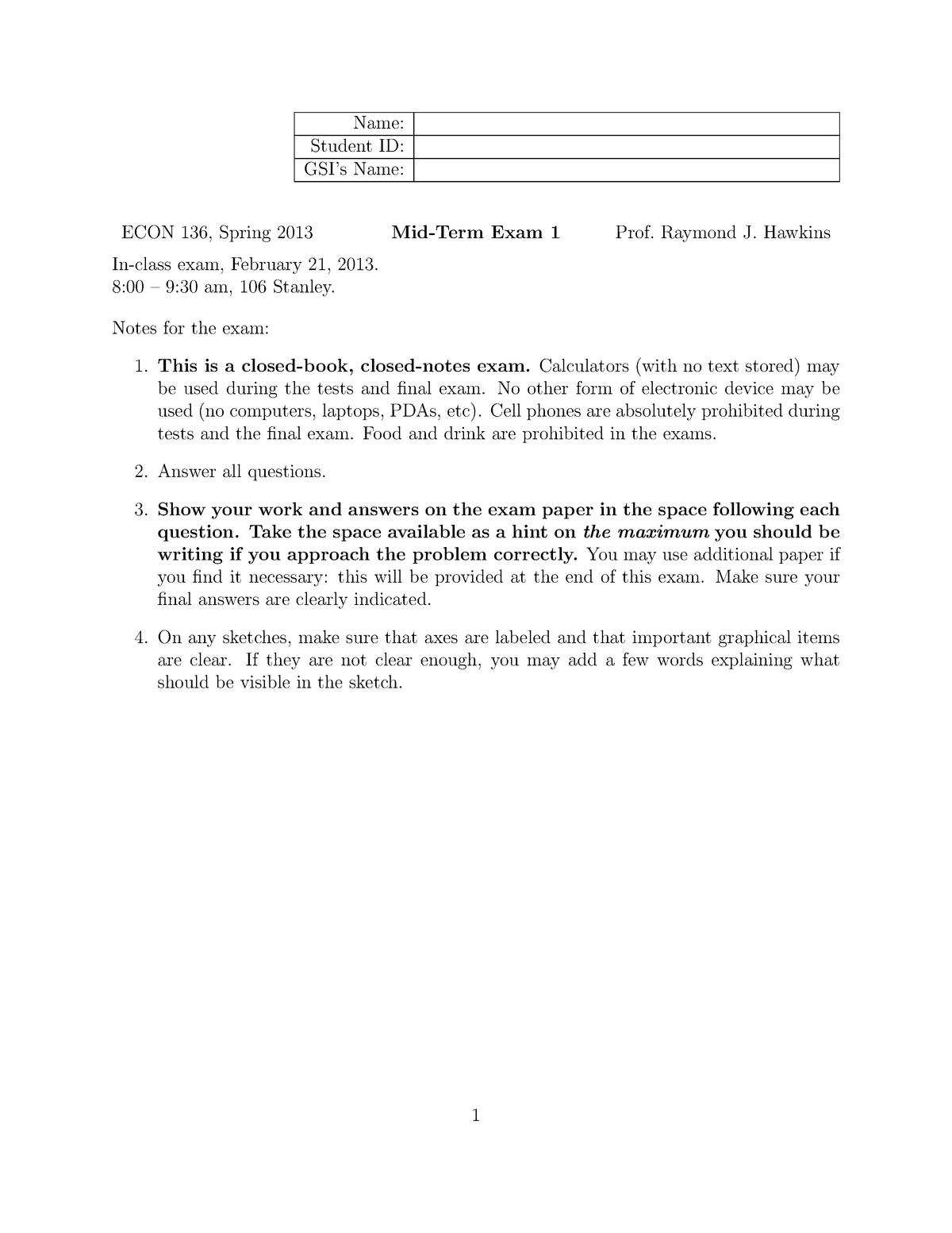 Exam 2013 - ECON 136: Financial Economics - StuDocu