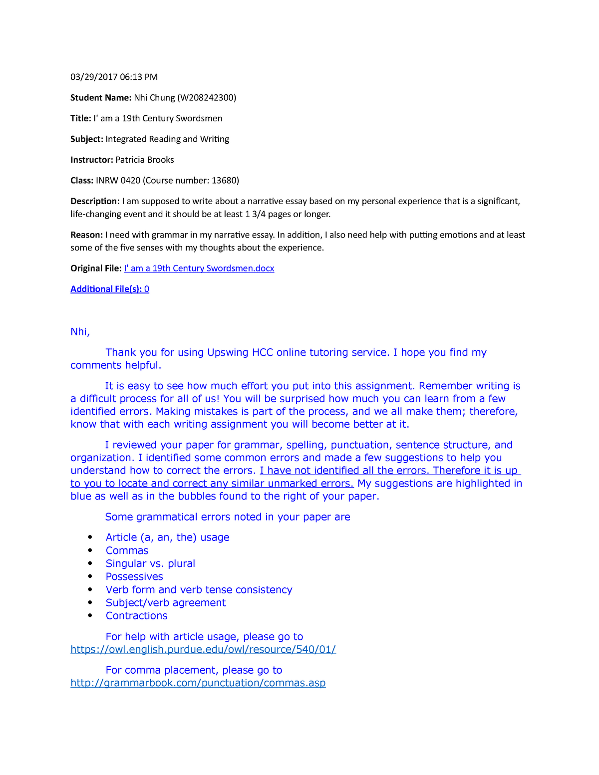 narrative essay tutor comments    required   inrw  integrated