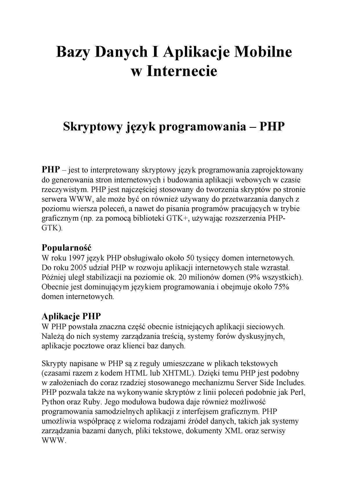 Bdami Język Php Podsumowanie Uewroc Studocu