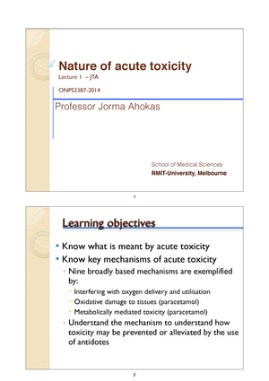 lecture notes lecture 1 nature of acute toxicity onps2387
