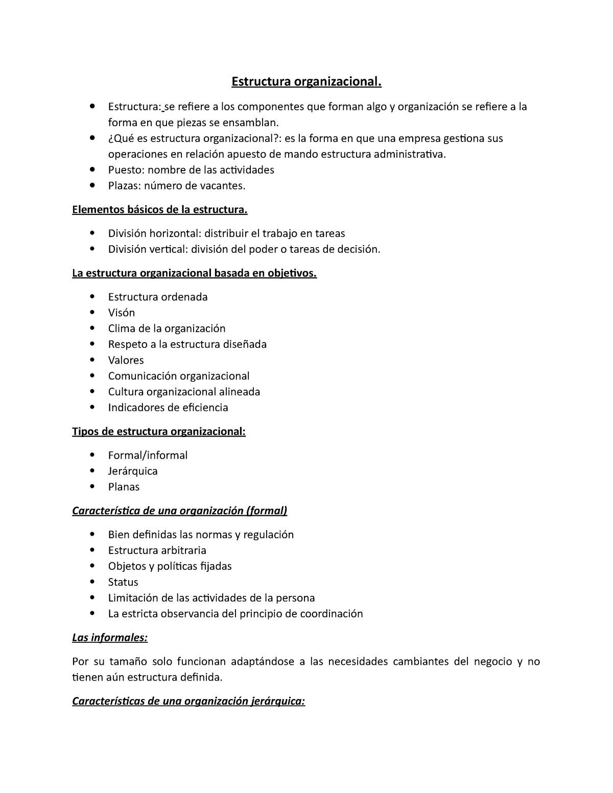 Estructura Organizacional Administración Administración
