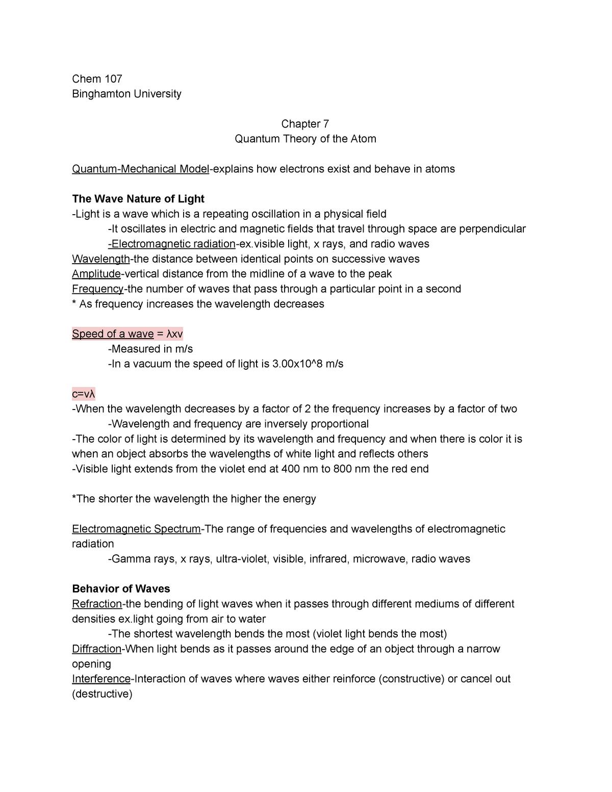 Chem Chapter 7 Quantum Theory of the Atom - Chem 107 - StuDocu