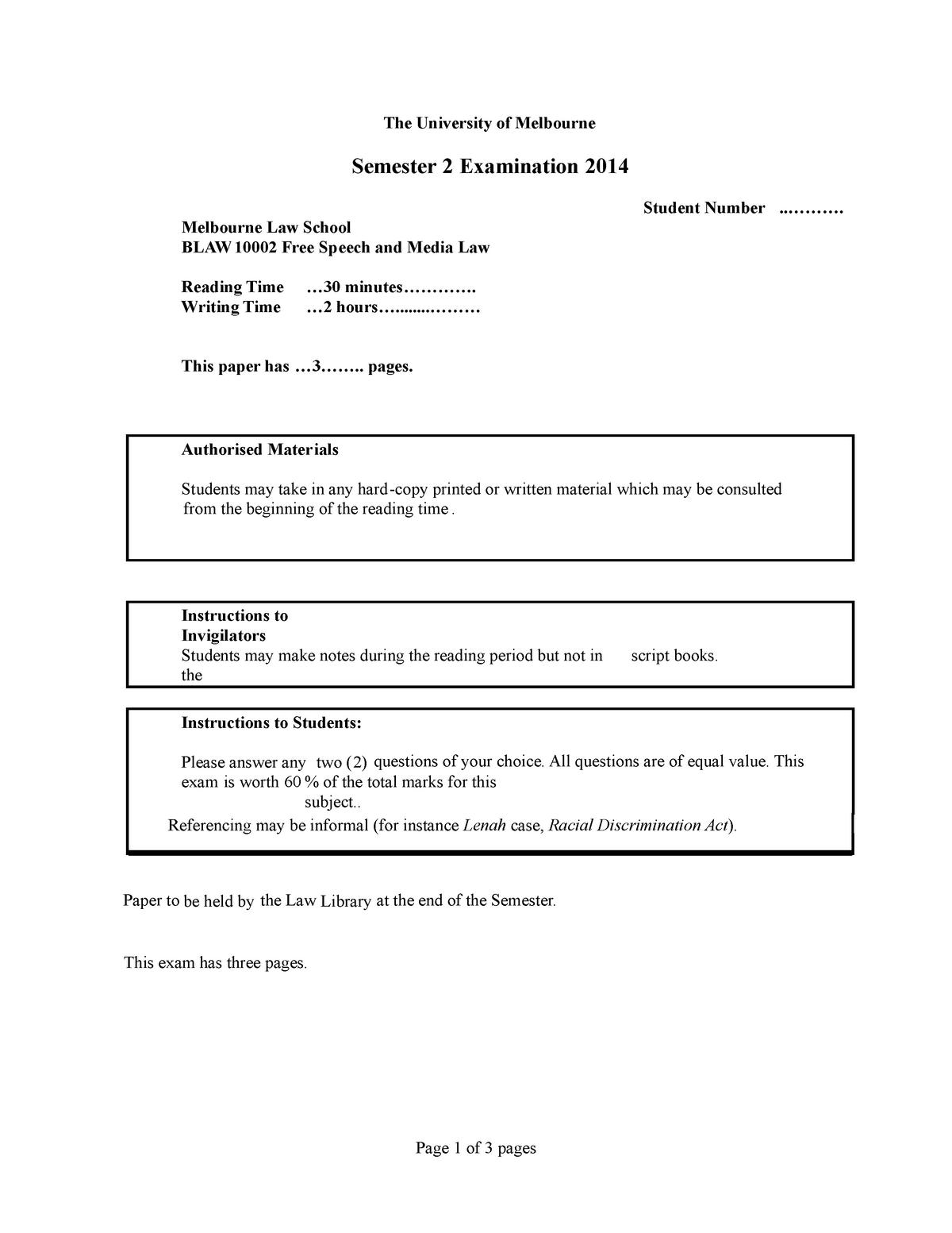 Exam 2014 - BLAW10002: Free Speech And Media Law - StuDocu