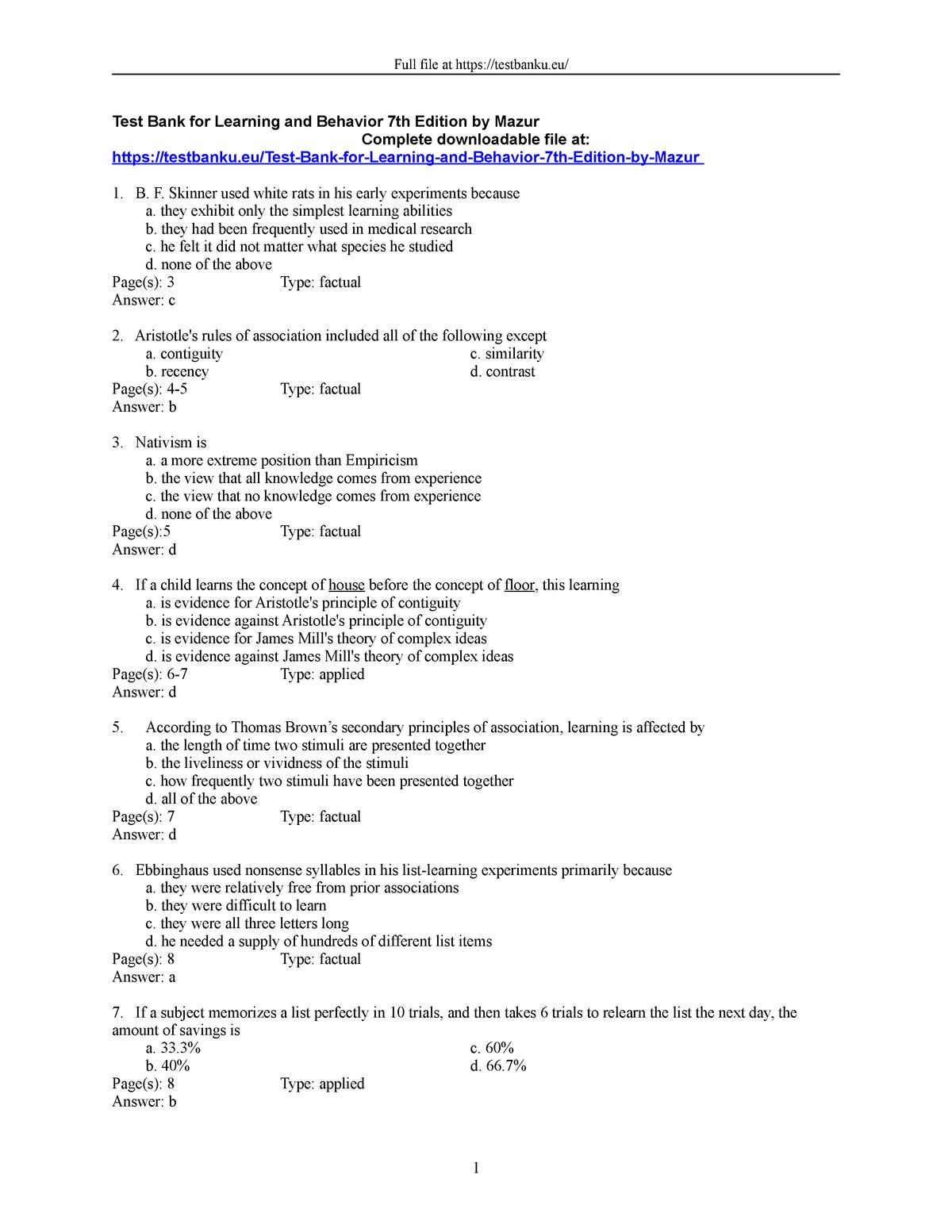 Exam 2018 - PSY236: Biopsychology and Learning - StuDocu