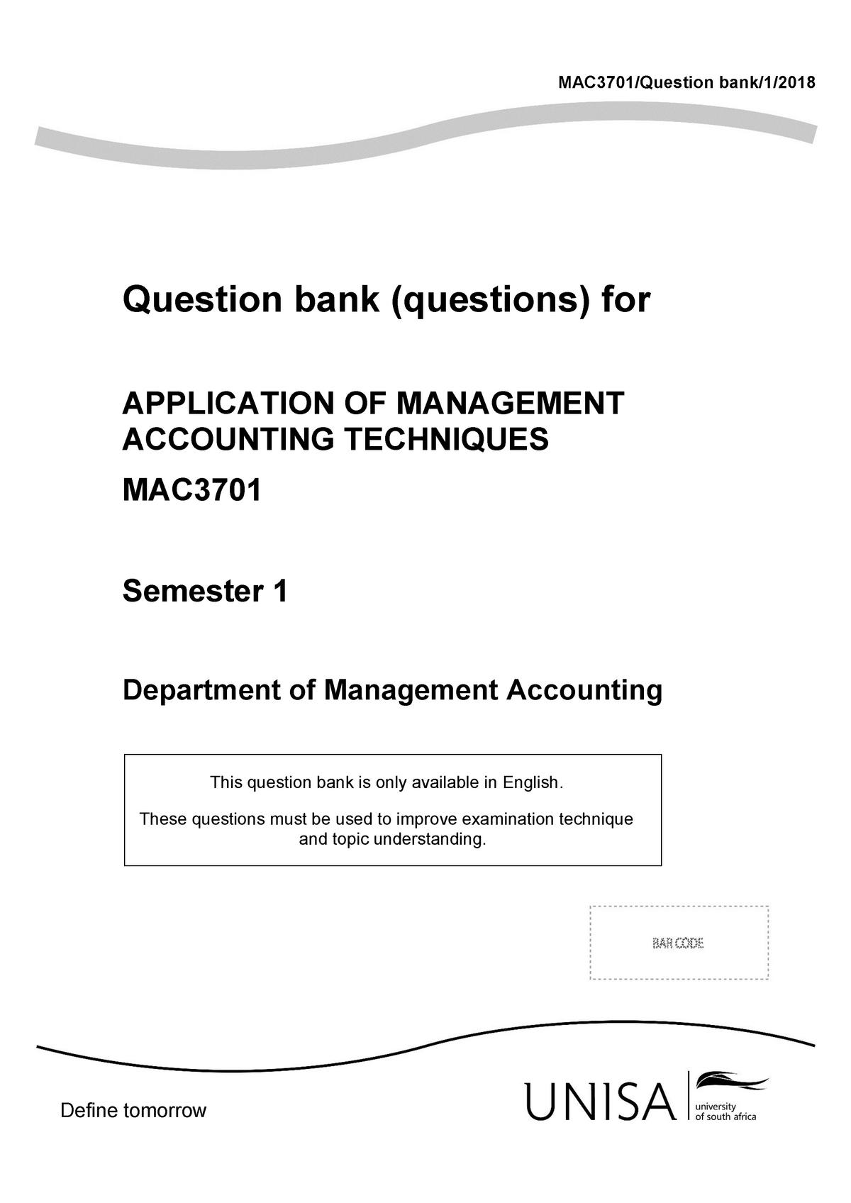 Exam 2018, questions and answers - Mac3701 - UNISA - StuDocu